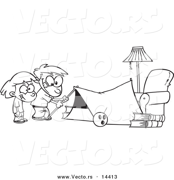 Vector of a Cartoon Kids Setting up a Camping Tent in a