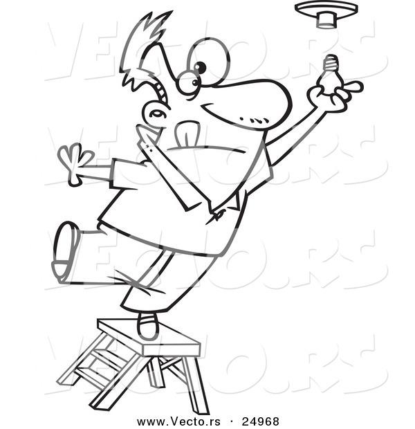Vector of a Cartoon Ladder and Installing a Light Bulb