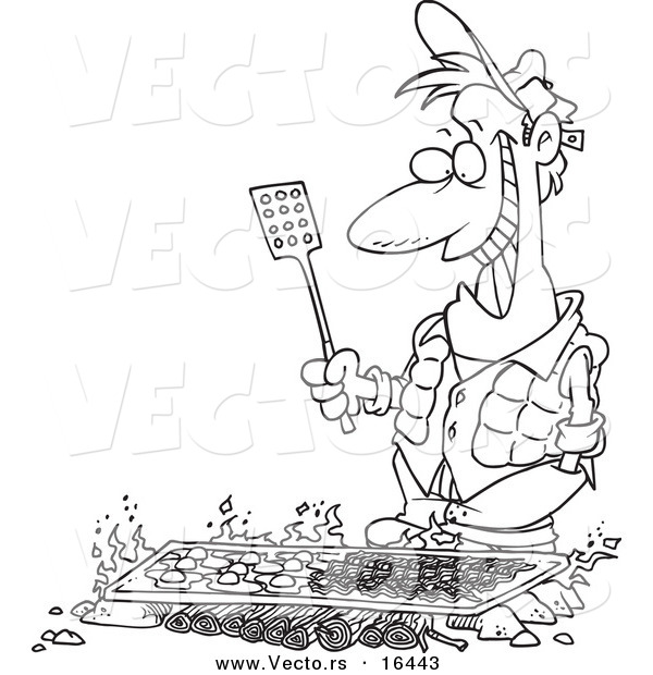 Vector of a Cartoon Man Cooking on a Griddle over a Camp