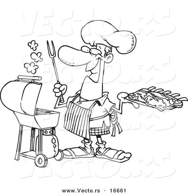 vector of a cartoon man holding ribshis bbq  outlined