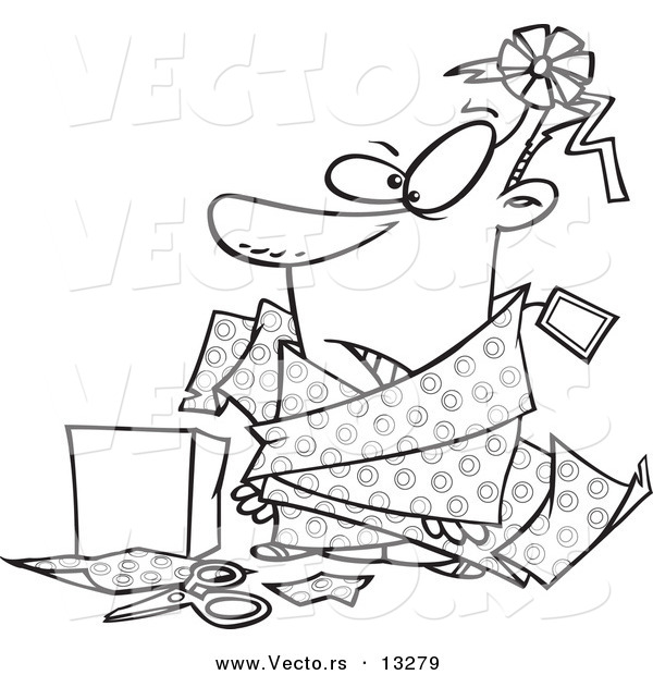 Vector of a Cartoon Man Tangled in Wrapping Paper