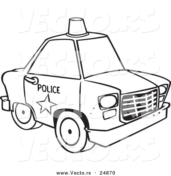Vector of a Cartoon Police Car with a Siren Cone on the