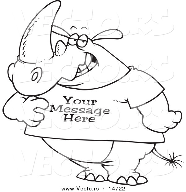 Vector of a Cartoon Rhino Wearing a T Shirt with Sample