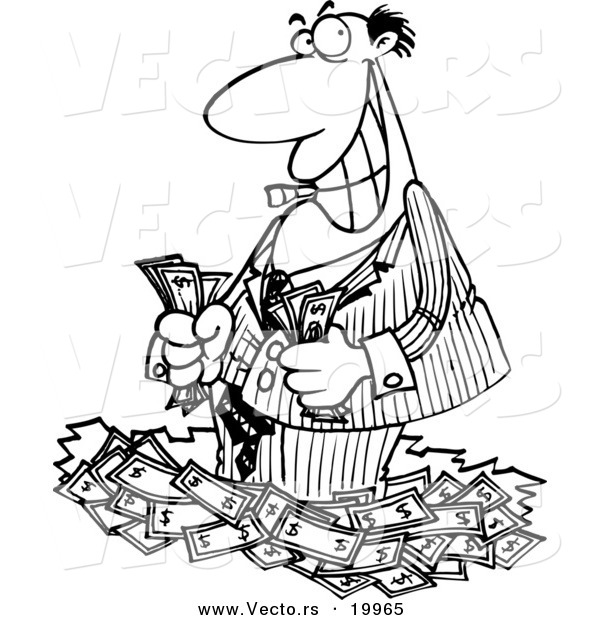 Vector of a Cartoon Rich Businessman Standing in Cash