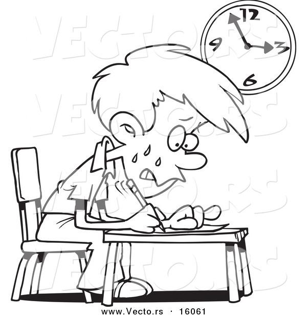 Vector of a Cartoon Stressed School Boy Taking an Exam