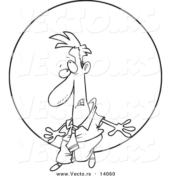 Vector of a Cartoon Struggling Businessman Pushing a Ball