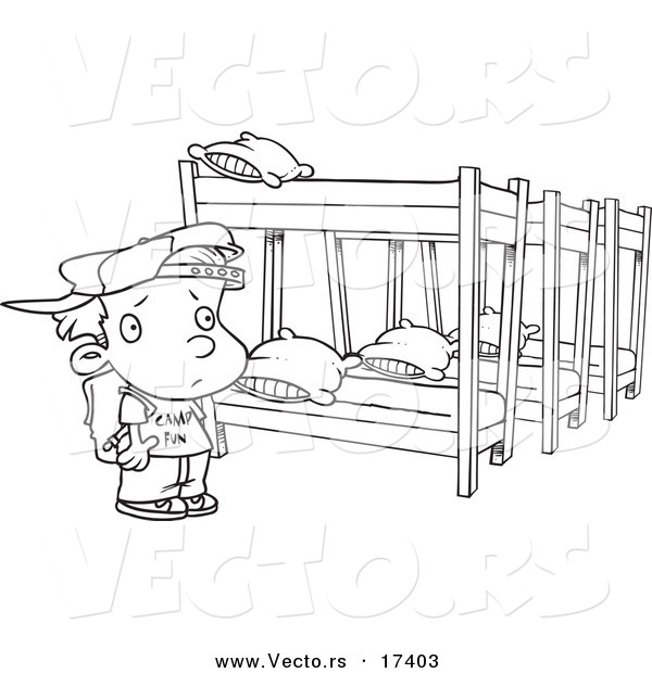 Vector of a Cartoon Summer Camp Boy Looking at Bunk Beds