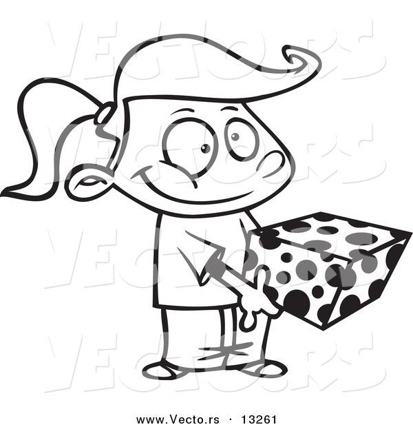 Vector of a Cartoon Sweet Girl Holding a Gift Box