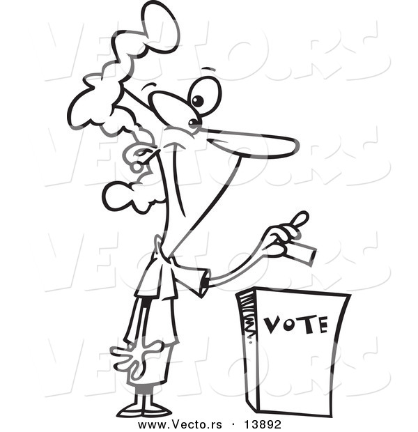 Vector of a Cartoon Woman Putting Her Ballot into a Vote