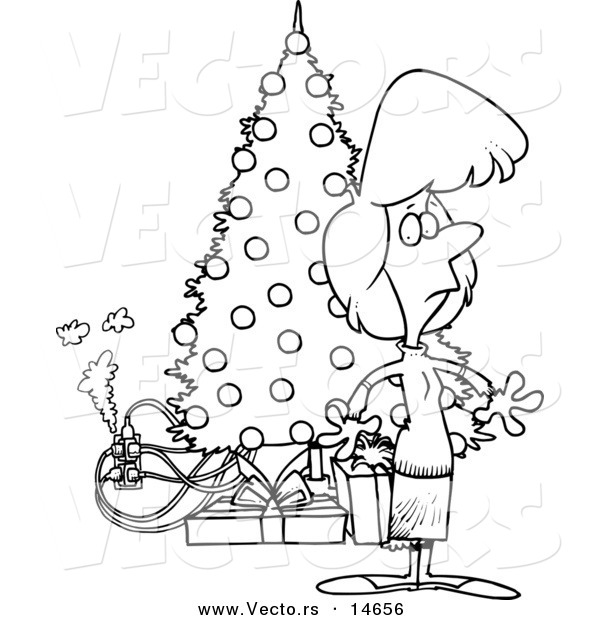 Vector of a Cartoon Woman Standing by a Christmas Tree