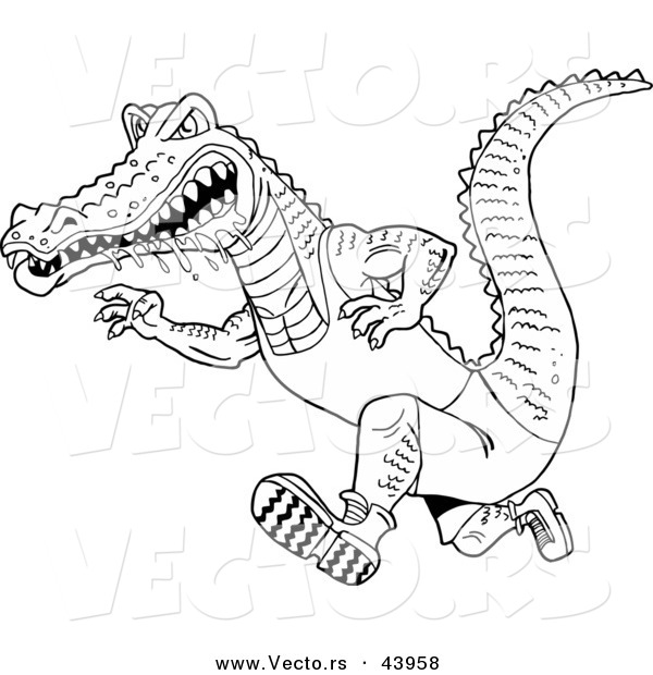 Vector of a Drooling Cartoon Alligator Running Fast