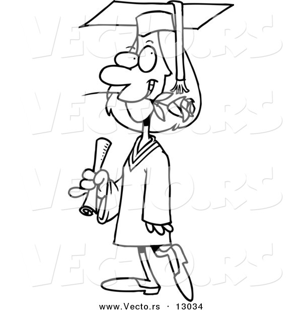 Vector of a Female Cartoon College Graduate Walking with a