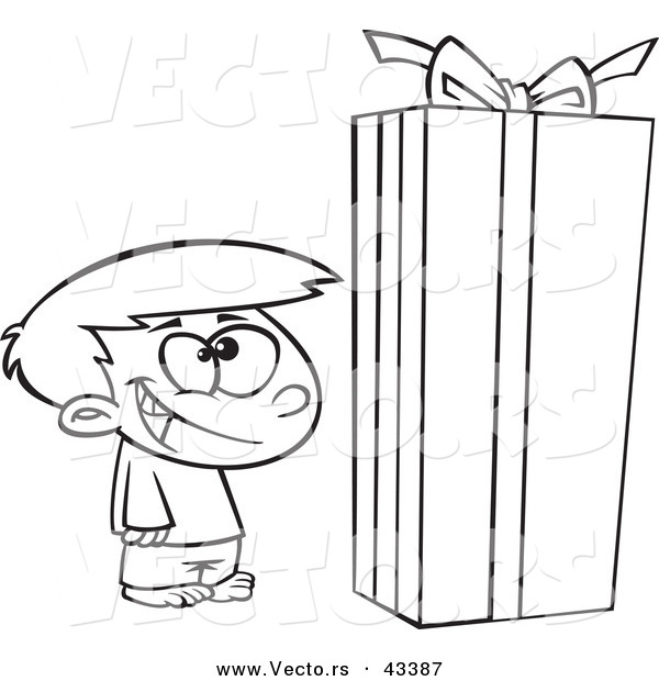Vector of a Happy Cartoon Boy Standing by a Large