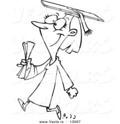 cartoon college graduate outline female walking coloring version vector happy toonaday