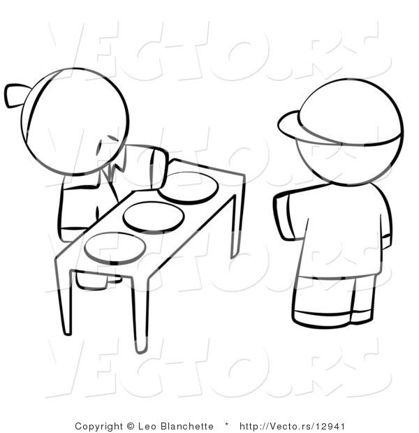 Vector of Boy Choosing Plate of Food for Hungry Young