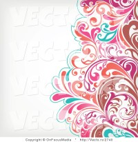 Vector of Brown, Pink and Turquoise Floral Vines Pattern