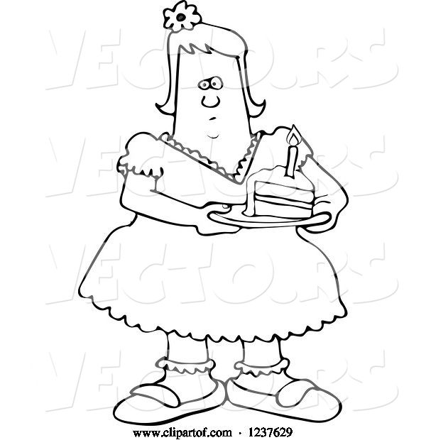 Vector of Cartoon Black and White Fat Girl Holding a Slice