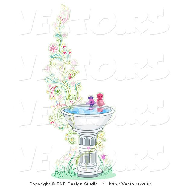 Animal Print Wallpaper Border Vector Of Two Birds At A Bird Bath Beside Floral Vines