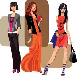 vector modern vectorized bags eps gilrls three shopping elements vectors cartn illustration svg format handbags luxury woman cartoons mirror