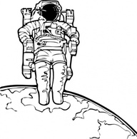 Science Outline Astronomy Lineart Astronaut Space Walk