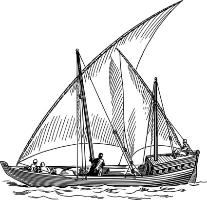 Free download of Dhow Sail Boat clip art Vector Graphic