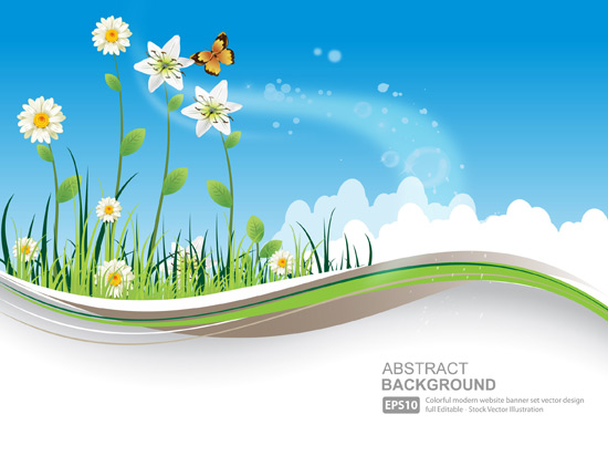 Free Download Of Natural Banners With Flower And Blue Sky Vector Graphic Vectorme