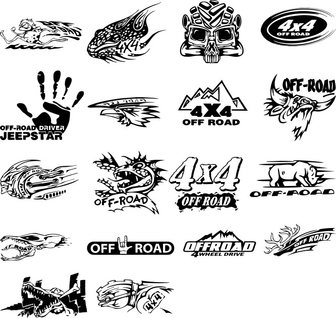 Stickers on cars in vector download free cdr, from Google