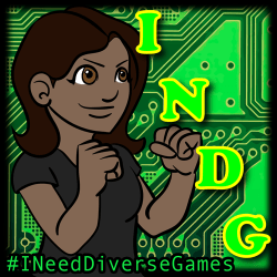 "a illustrated woman with her fists raised pointed to the acronym INDG. Below her reads ""I Need Diverse Games"""