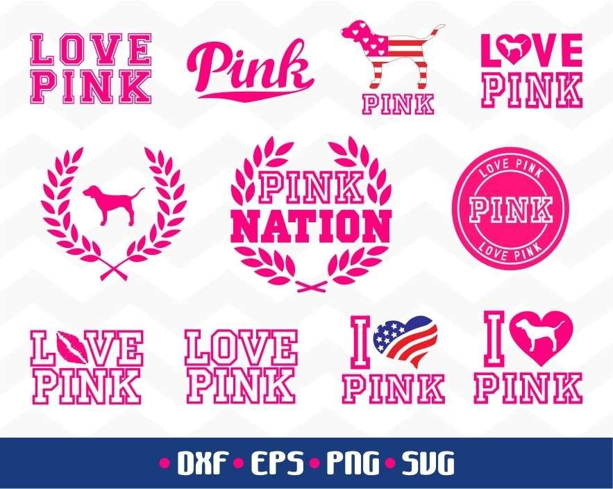 Download Love Pink Bundle SVG Dog Pink Cut File   Vectorency