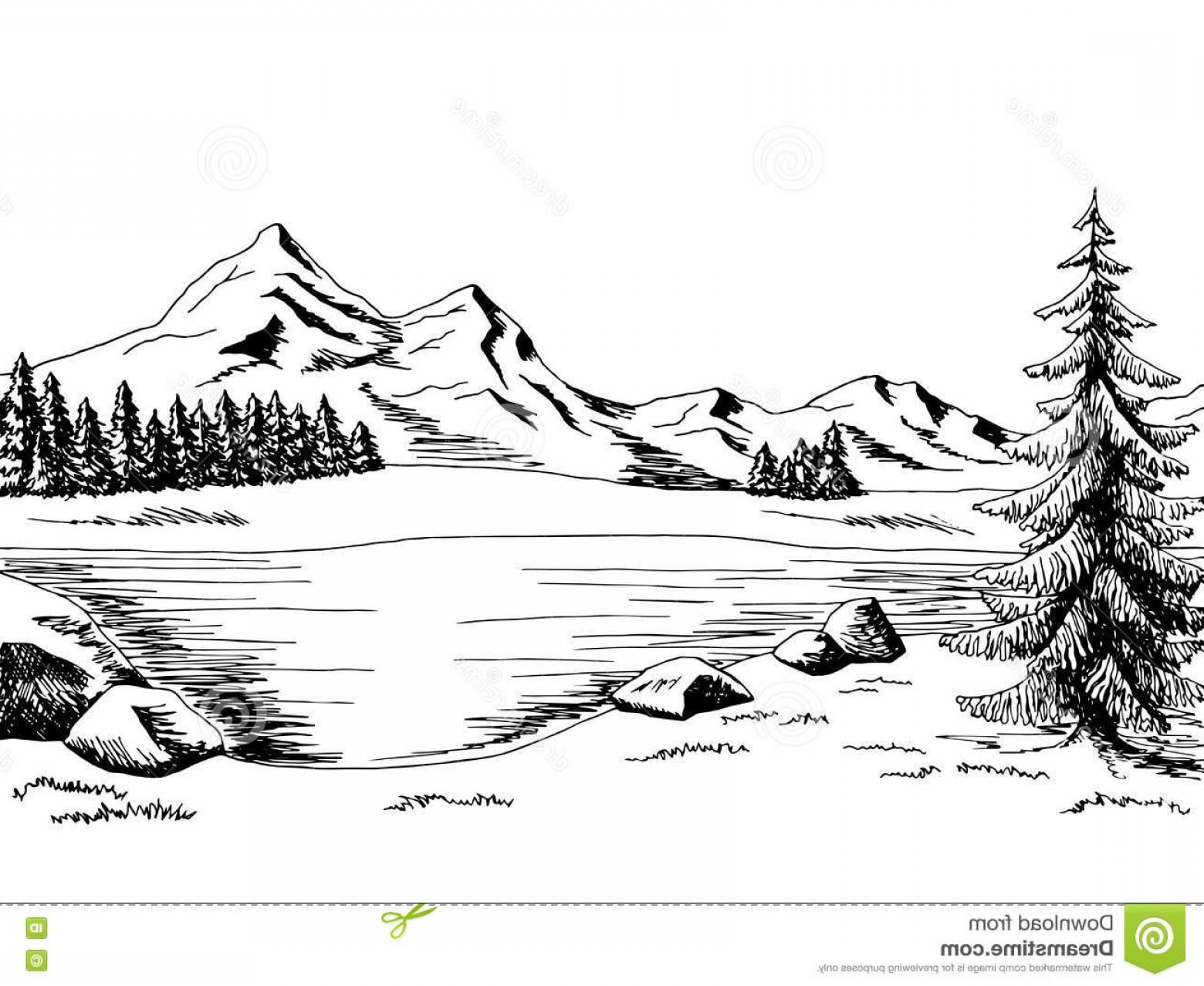 Mountain Lake Vector At Vectorified