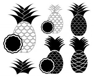 pineapple vector silhouette monogram vectorified