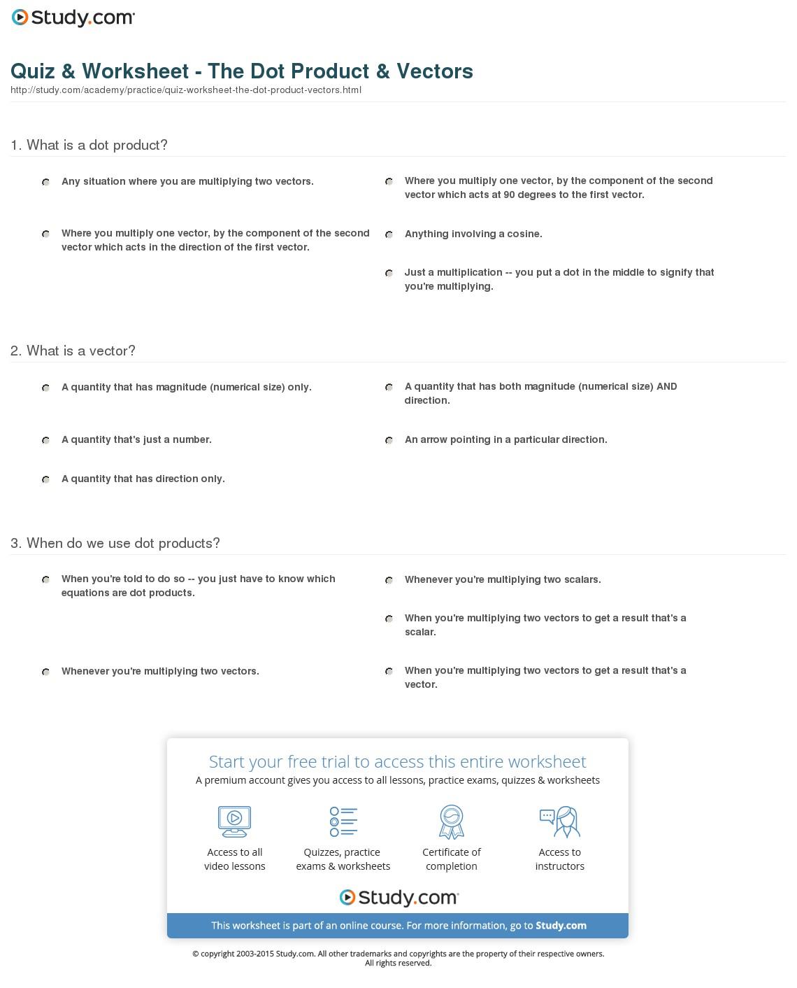 Vector Practice Worksheet At Vectorified