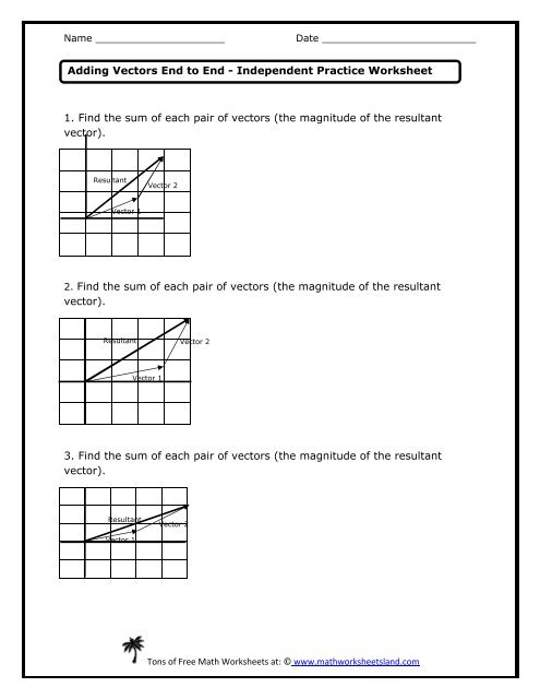 Worksheet Vector Math Practice at Vectorified.com