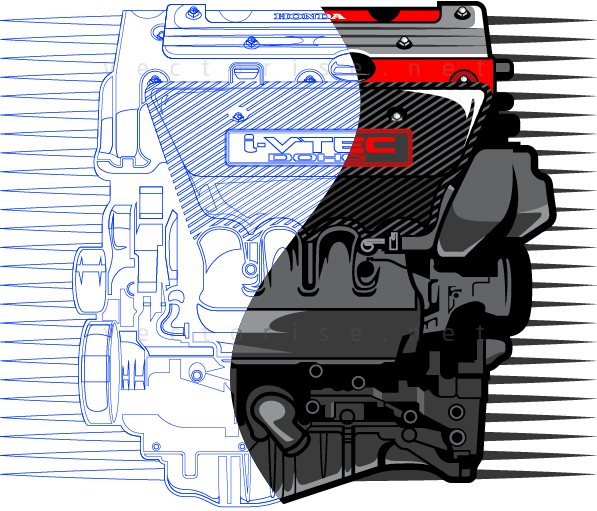 I-VTEC vector illustration