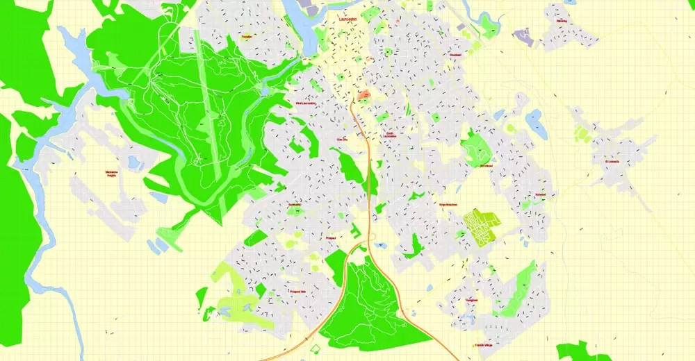 Launceston PDF Map. Tasmania. Australia. exact vector street map. V29.11. fully editable. Adobe PDF. G-View Level 17 (100 meters scale). full vector