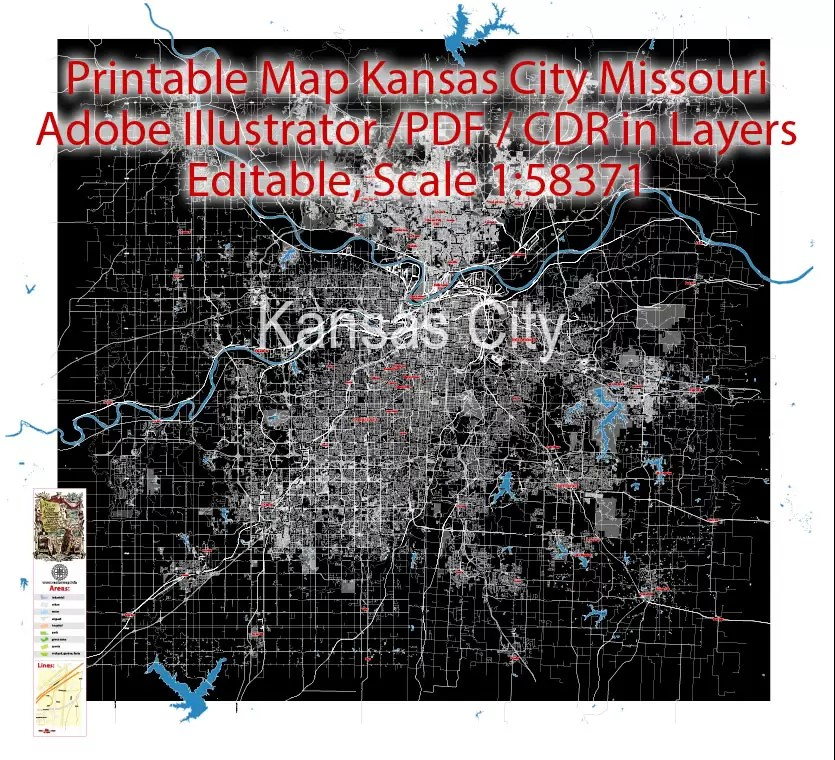 With interactive kansas city missouri map, view regional highways maps, road situations, transportation, lodging guide, geographical map, physical maps and more information. City Map Kansas City Vector Urban Plan Adobe Pdf Editable Street Map