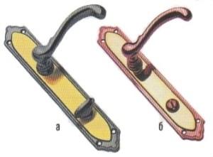 Пластинчатые фалевые ручки для механизмов с фиксатором: а - изнаночная сторона; б - лицевая с прорезью для экстренного открывания