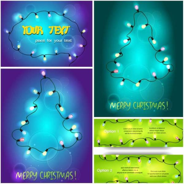 Abstract Christmas Tree Lights Vector Free Clipart In Ai Eps Format Vectorpicfree