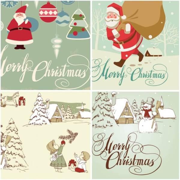 retro merry christmas cards vector