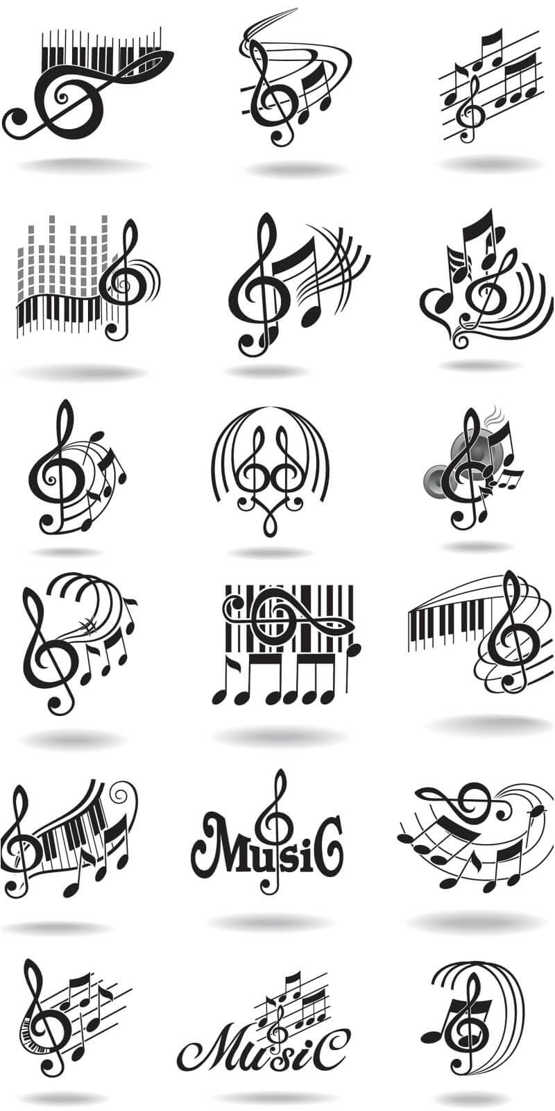 Notes, music staff and treble clef vector 2018 free