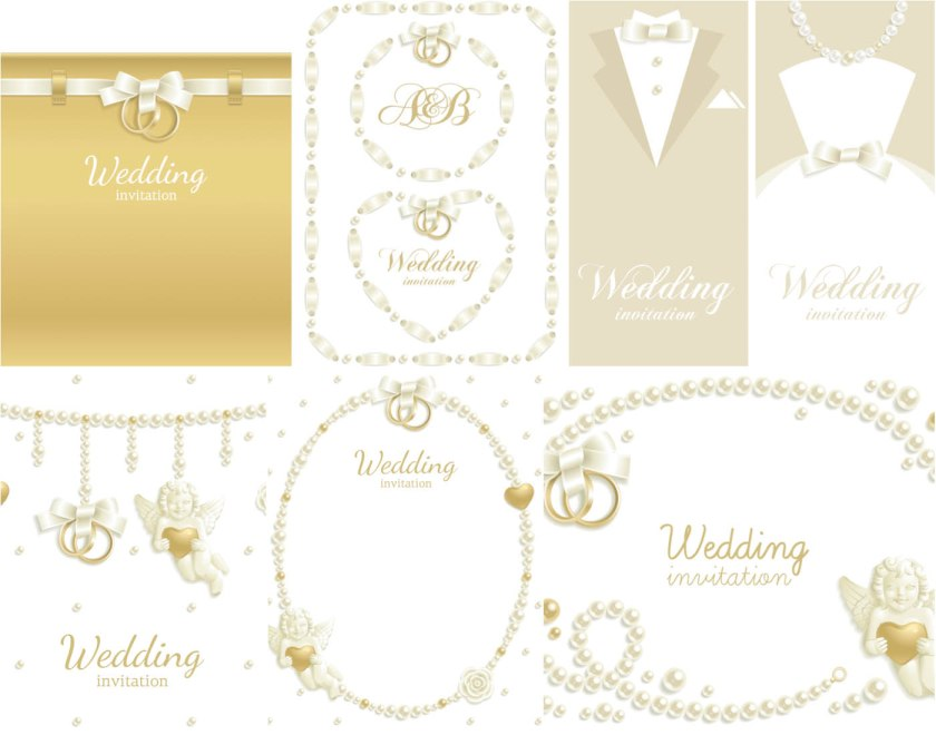 Vector Wedding Invitations With Hearts Pearls And Rings