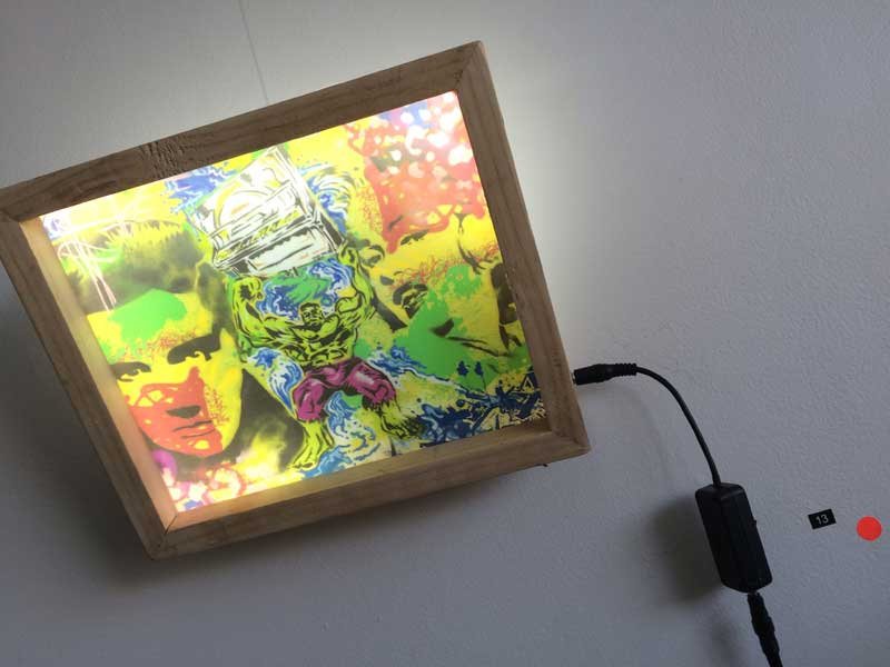 Low power LED light box work, wall mounted art and lighting combined
