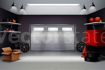 Image Details Inh 38192 57020 Garage Interior In Grey Color Realistic Composition With Sports Equipment Automobile Wheels Road Cones 3d Vector Illustration Garage Interior Realistic Composition