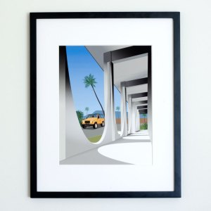 Land Rover Defender Coachella Valley Bank Mid-Century Modern Architecture Illustration Art Print