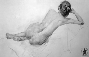 Drawing In The High Art School book - pencil nude woman lay down draft