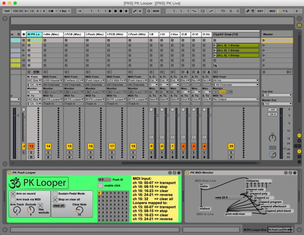 Here is the I/O routing bus, which usually remains hidden on the far right of the set. It contains my M4L device and midi input tracks that accommodate the different device names on mac and PC, including IAC Bus on mac and loopMIDI on PC. I have also isolated the inputs and outputs for bass, violin, and vocals in order to add specific pre and post processing.
