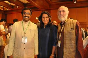 With BJP Gen Secy Ram Madhav (Left) and Congresswoman Tulsi Gabard (Center)
