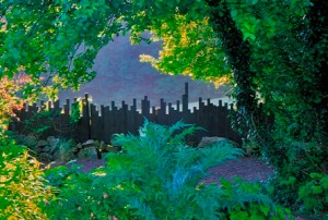 The Fence, Veddw House Garden, The Fedw, Devauden, Monmouthshire, South Wales, Most original garden in Britain, Anne Wareham, The Bad Tempered Gardener and Charles Hawes, photographer
