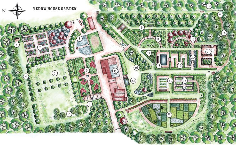 Veddw House Garden   Garden Plan   Garden Map