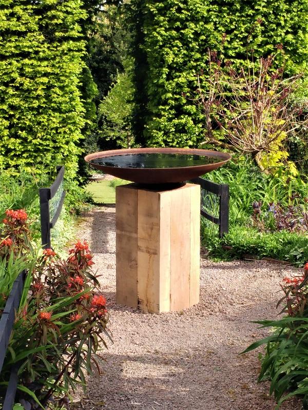 New bird bath at Veddw copyright Anne Wareham